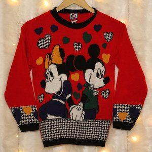Vintage Disney Mickey & Minnie Houndstooth Sweater